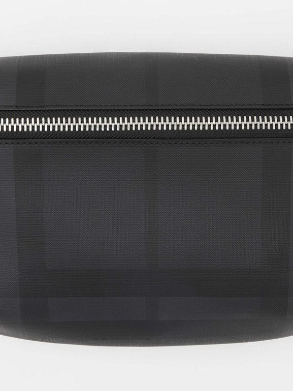 Medium London Check and Leather Bum Bag in Dark Charcoal | Burberry - cell image 1