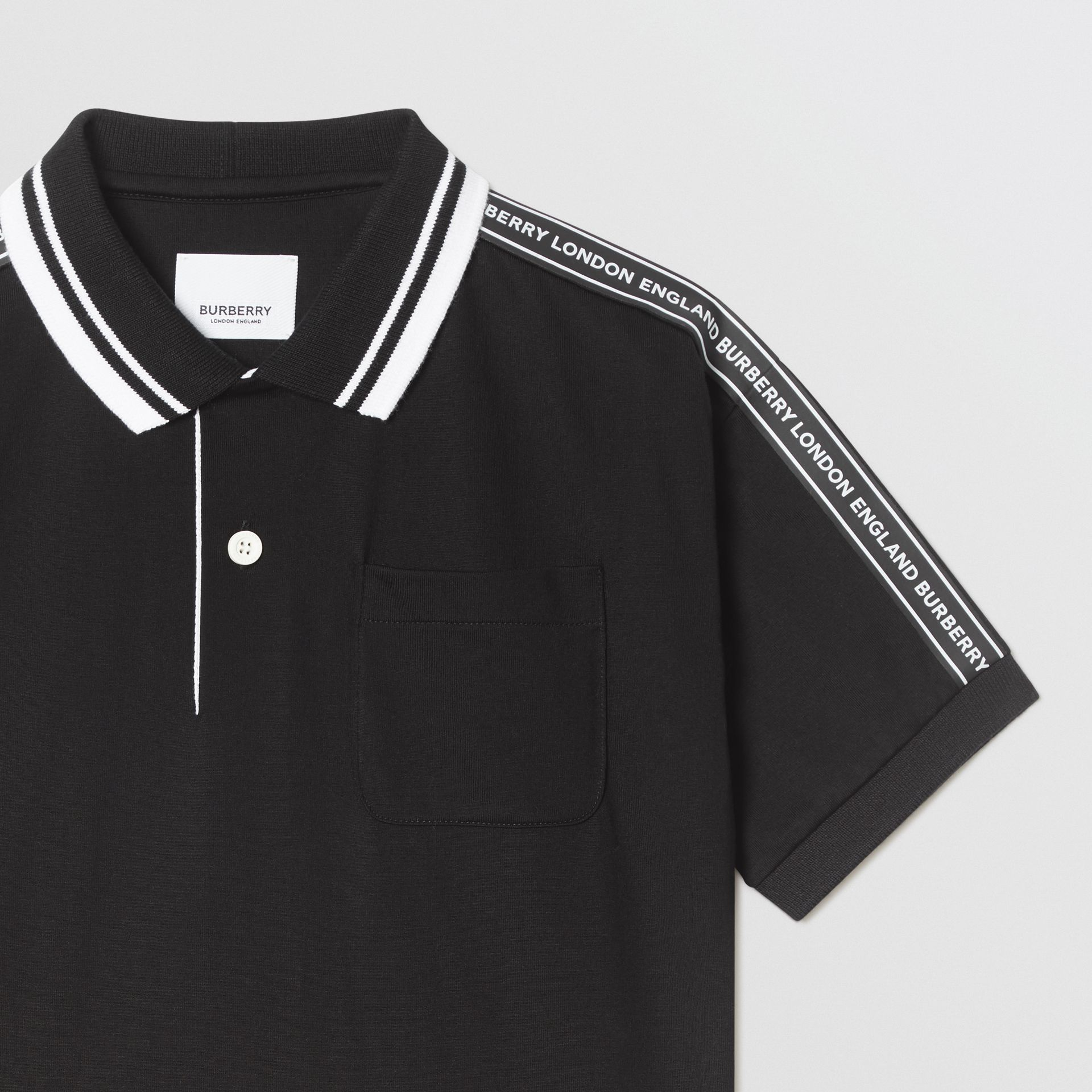 Logo Tape Cotton Polo Shirt in Black | Burberry - gallery image 4