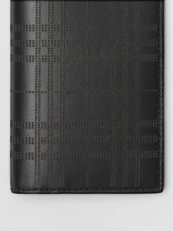 Perforated Check Leather Continental Wallet in Black - Men | Burberry United Kingdom - cell image 1