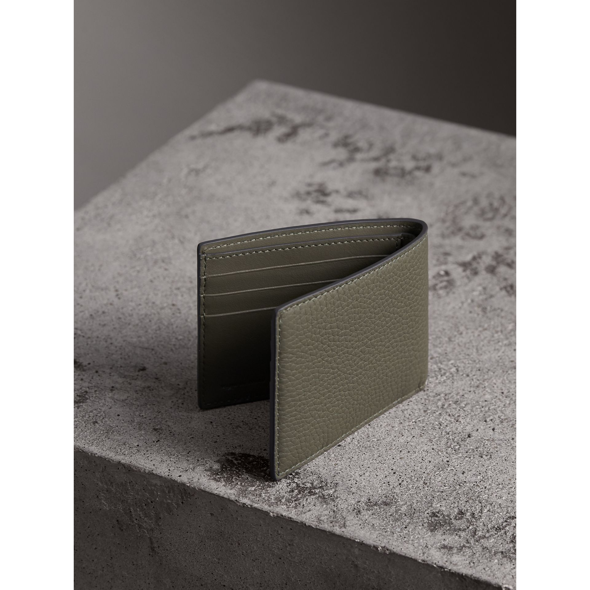 Textured Leather Bifold Wallet in Slate Green - Men | Burberry United Kingdom - gallery image 3