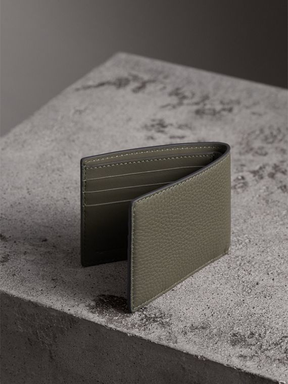 Textured Leather Bifold Wallet in Slate Green - Men | Burberry United Kingdom - cell image 2
