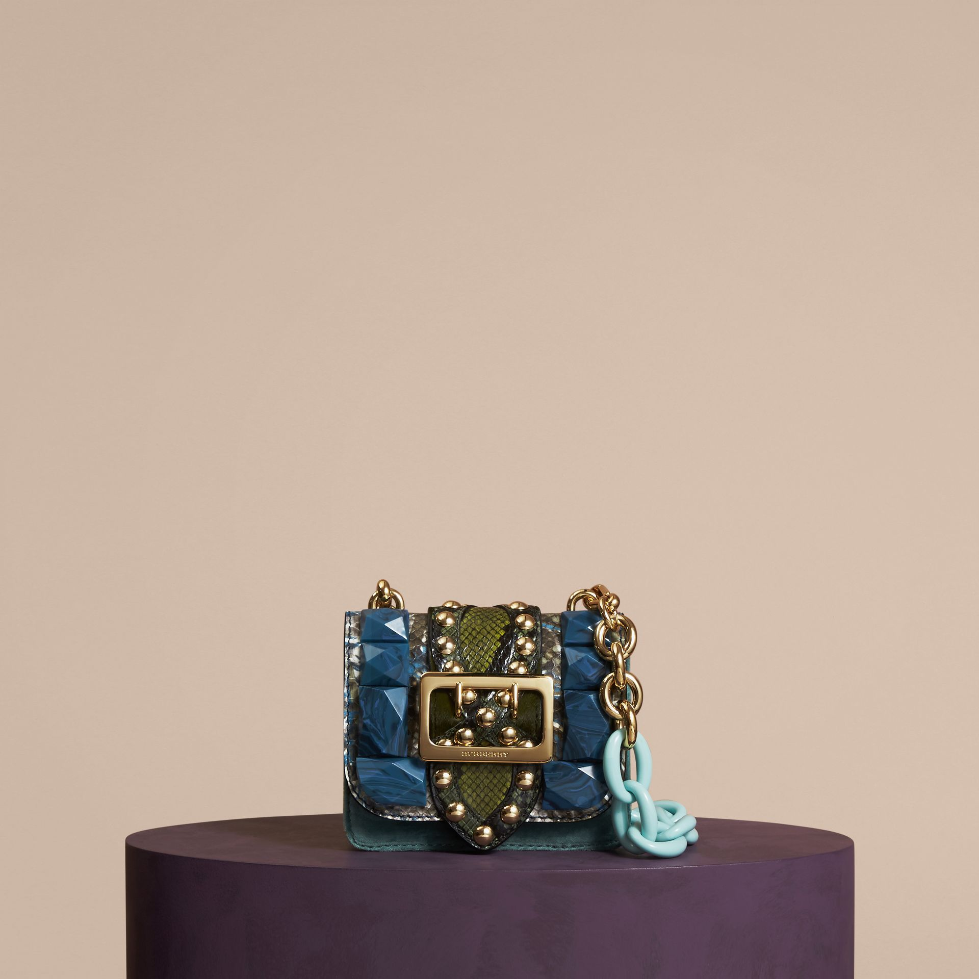 Pale opal The Mini Square Buckle Bag in Velvet and Snakeskin - gallery image 7