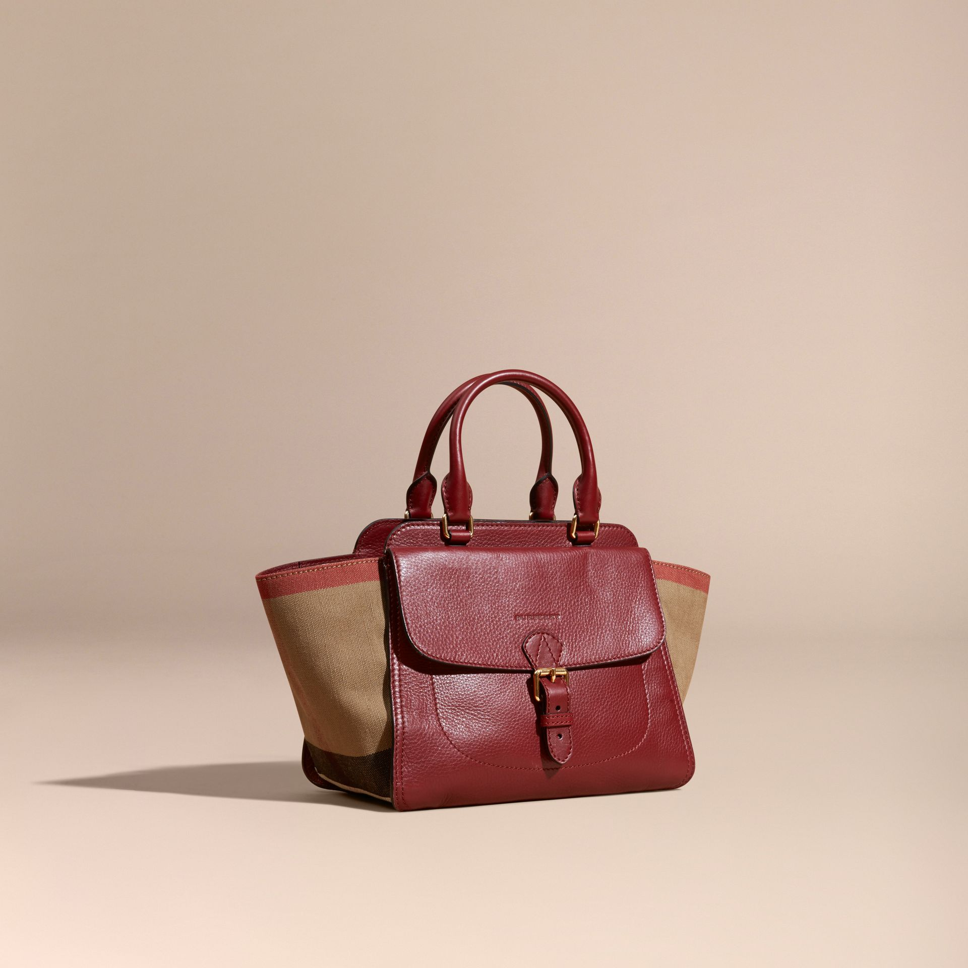 Burgundy red Medium Canvas Check and Leather Tote Bag Burgundy Red - gallery image 1