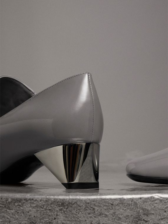 Stud Detail Patent Leather Pumps in Mid Grey - Women | Burberry United Kingdom - cell image 3