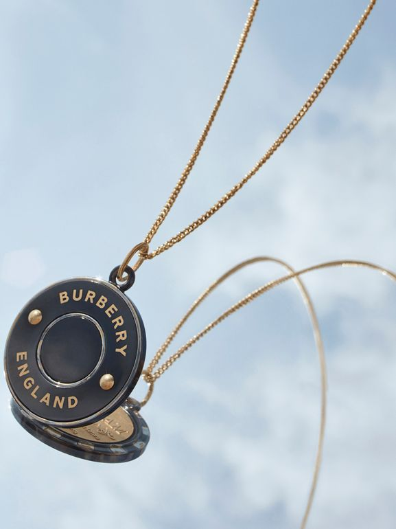 Logo Medallion Gold-plated Chain Necklace in Light Gold/enamel - Women | Burberry - cell image 1