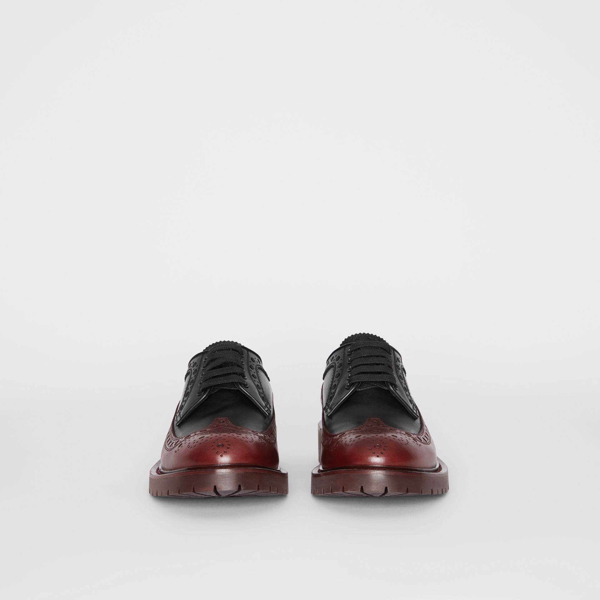 Brogue Detail Leather Derby Shoes in Black/antique Garnet - Men | Burberry United Kingdom - gallery image 3