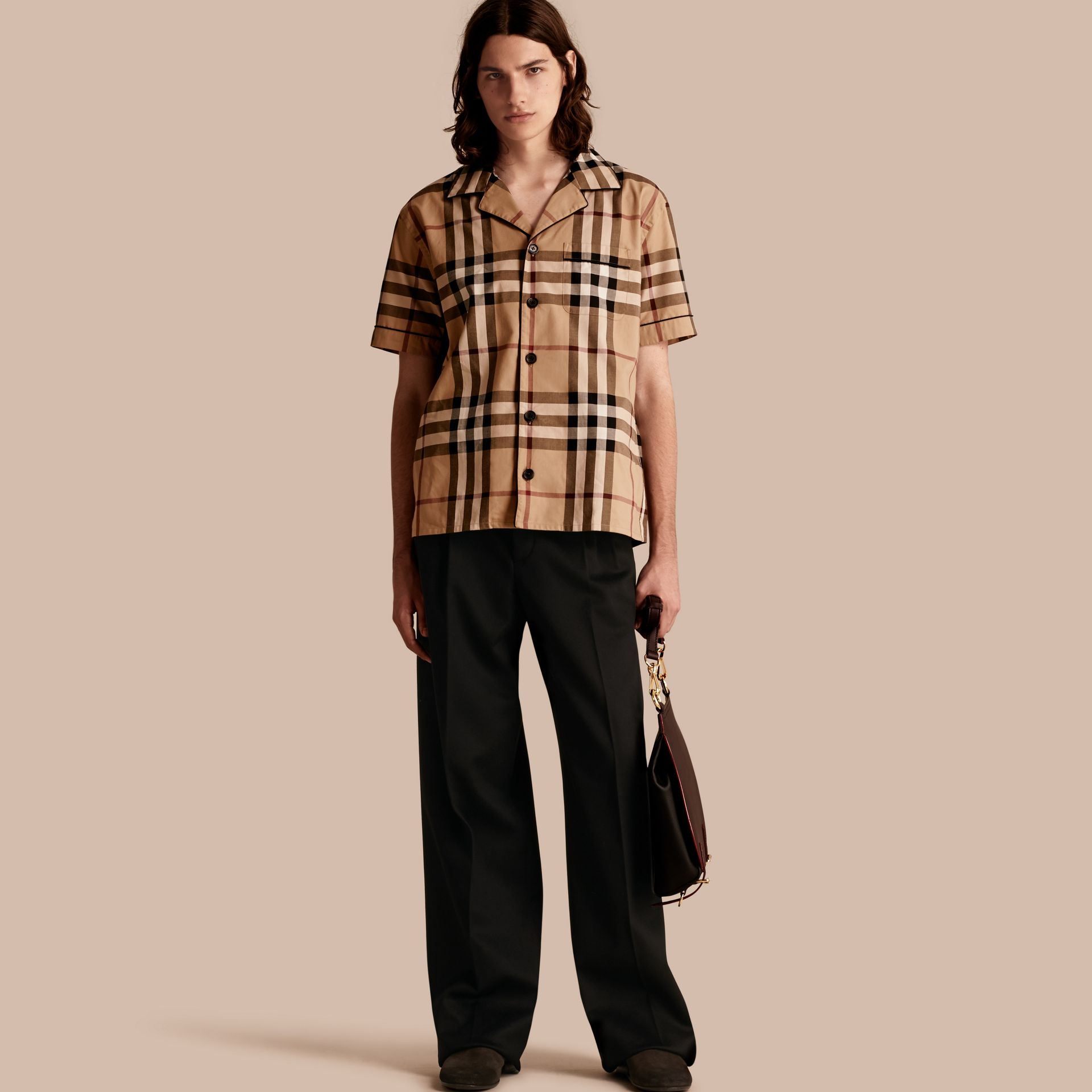 Camel Short-sleeved Check Cotton Pyjama-style Shirt Camel - gallery image 1