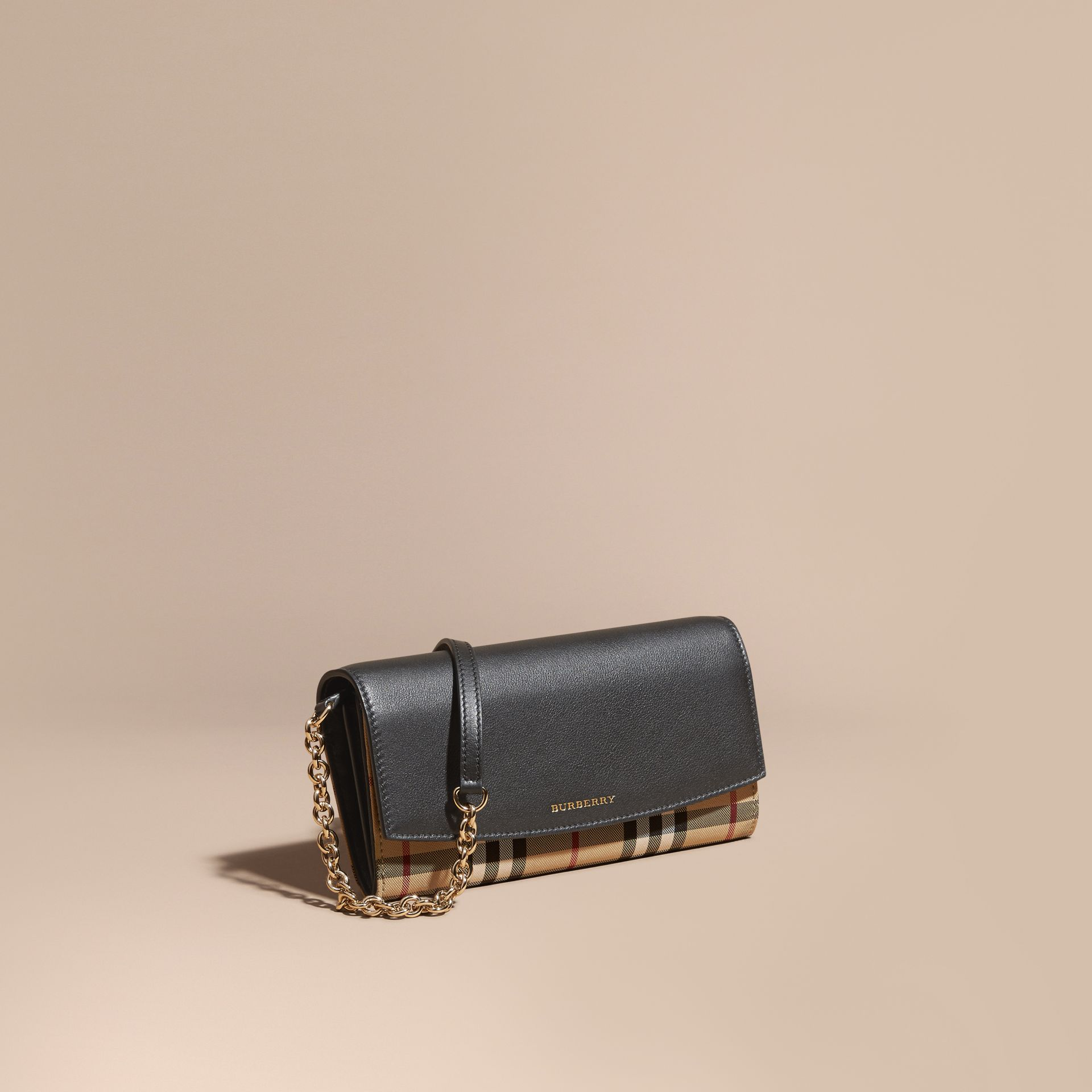 Horseferry Check and Leather Wallet with Chain in Black - Women | Burberry - gallery image 1