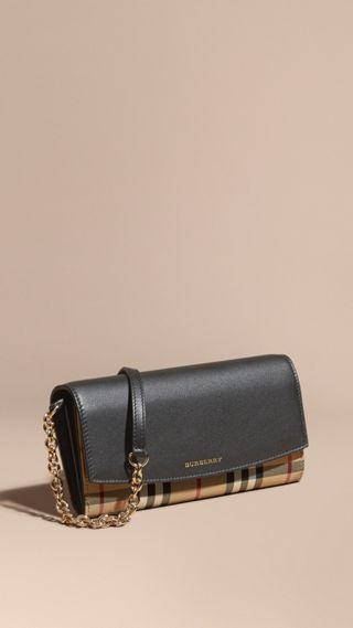 Horseferry Check and Leather Wallet with Chain