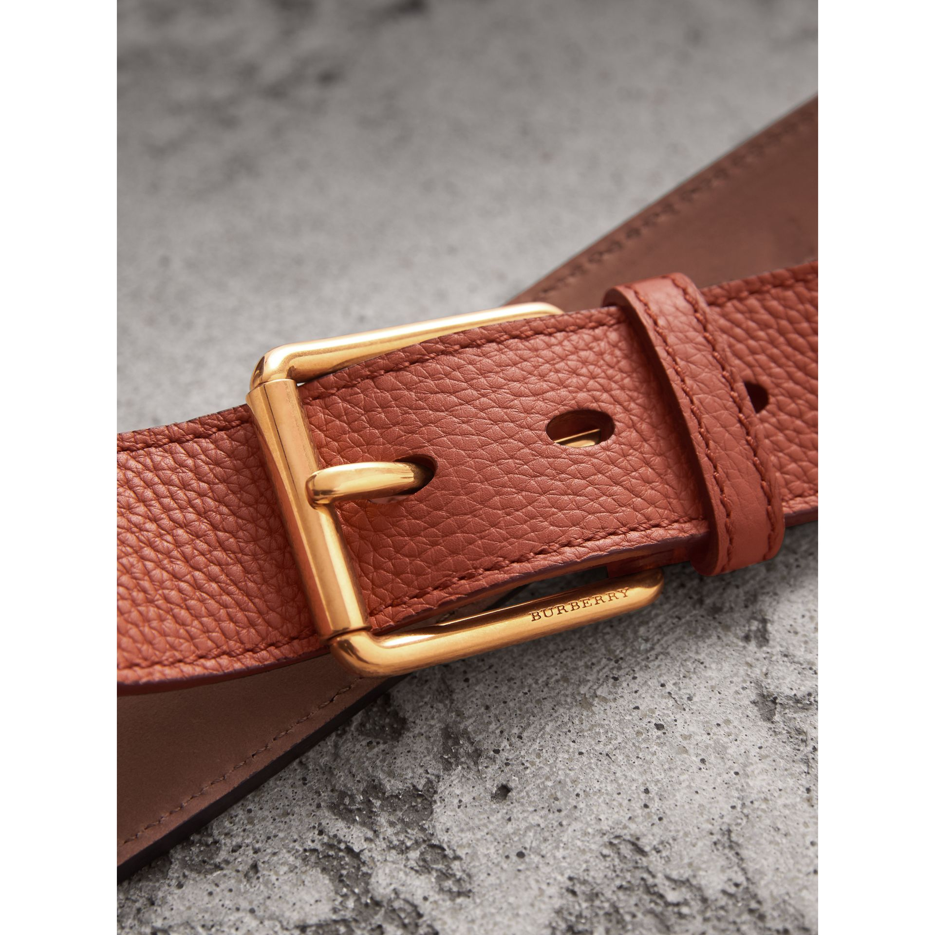 Grainy Leather Belt in Chestnut Brown - Men | Burberry United Kingdom - gallery image 1
