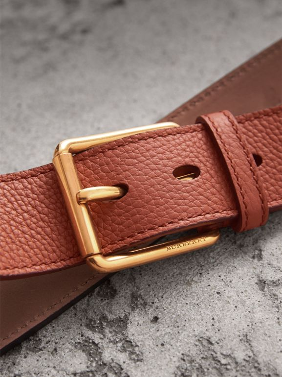 Grainy Leather Belt in Chestnut Brown - Men | Burberry - cell image 1