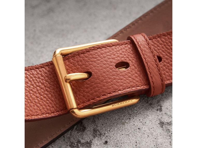 Grainy Leather Belt in Chestnut Brown - Men | Burberry United States - cell image 1