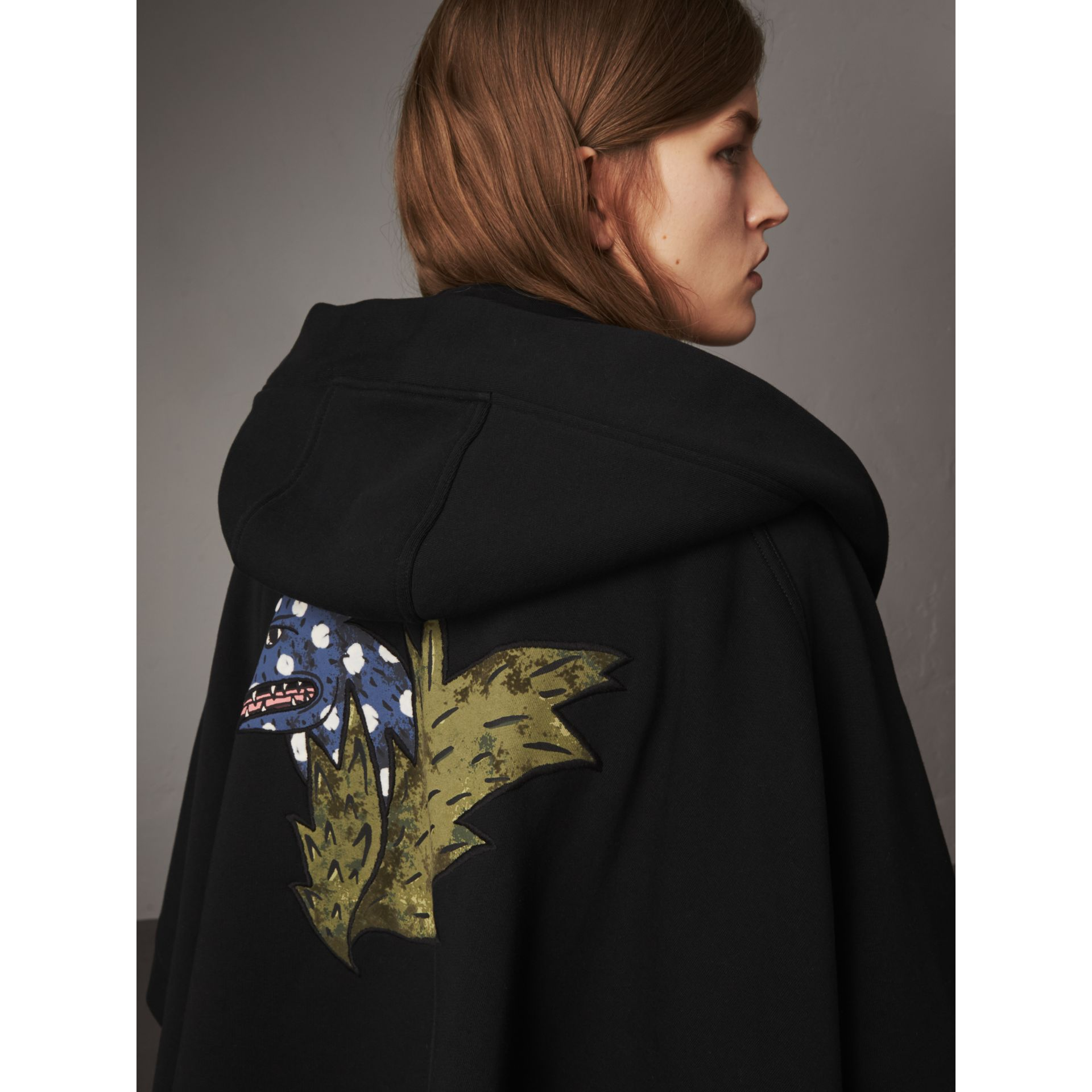 Beasts Motif Hooded Sweatshirt Poncho in Black - Women | Burberry - gallery image 2