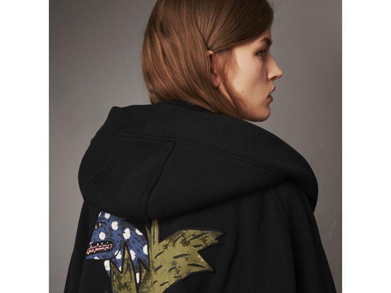 Beasts Motif Hooded Sweatshirt Poncho in Black - Women | Burberry - cell image 1