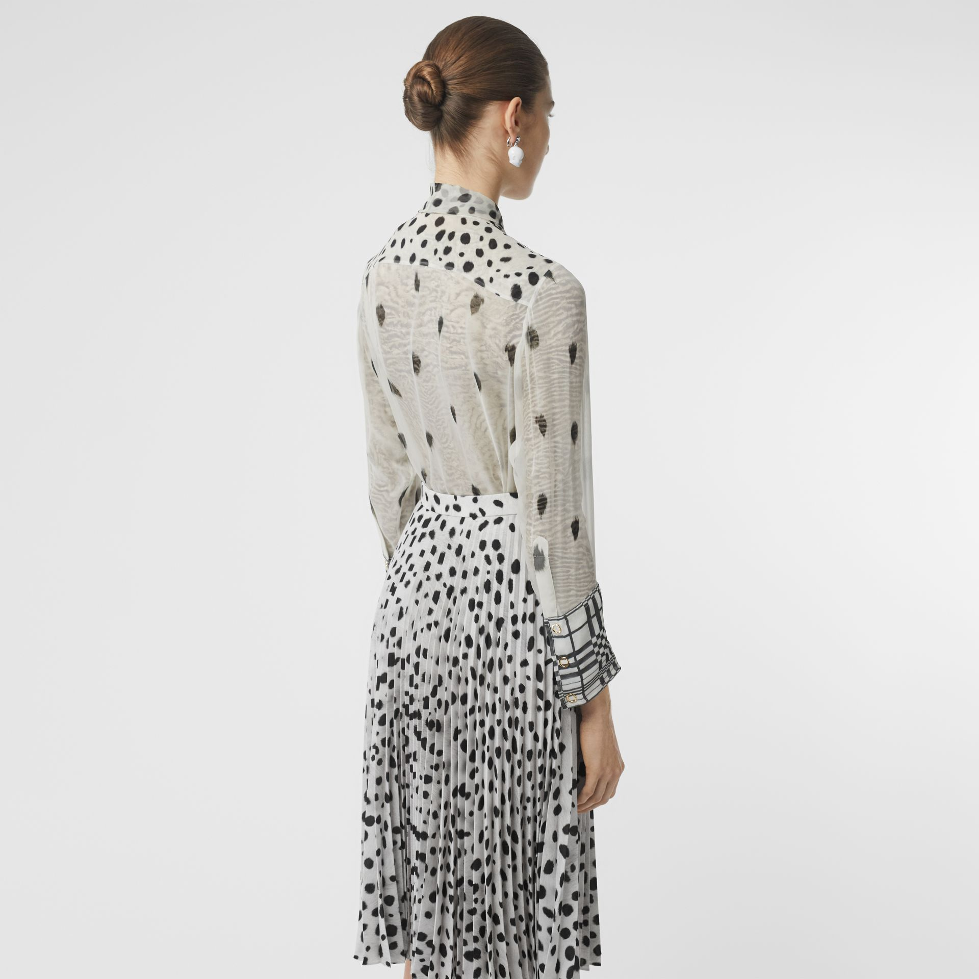 Dalmatian Print Silk Pussy-bow Blouse in Black/white - Women | Burberry - gallery image 2