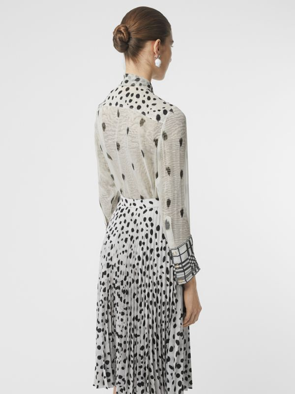 Dalmatian Print Silk Pussy-bow Blouse in Black/white - Women | Burberry - cell image 2