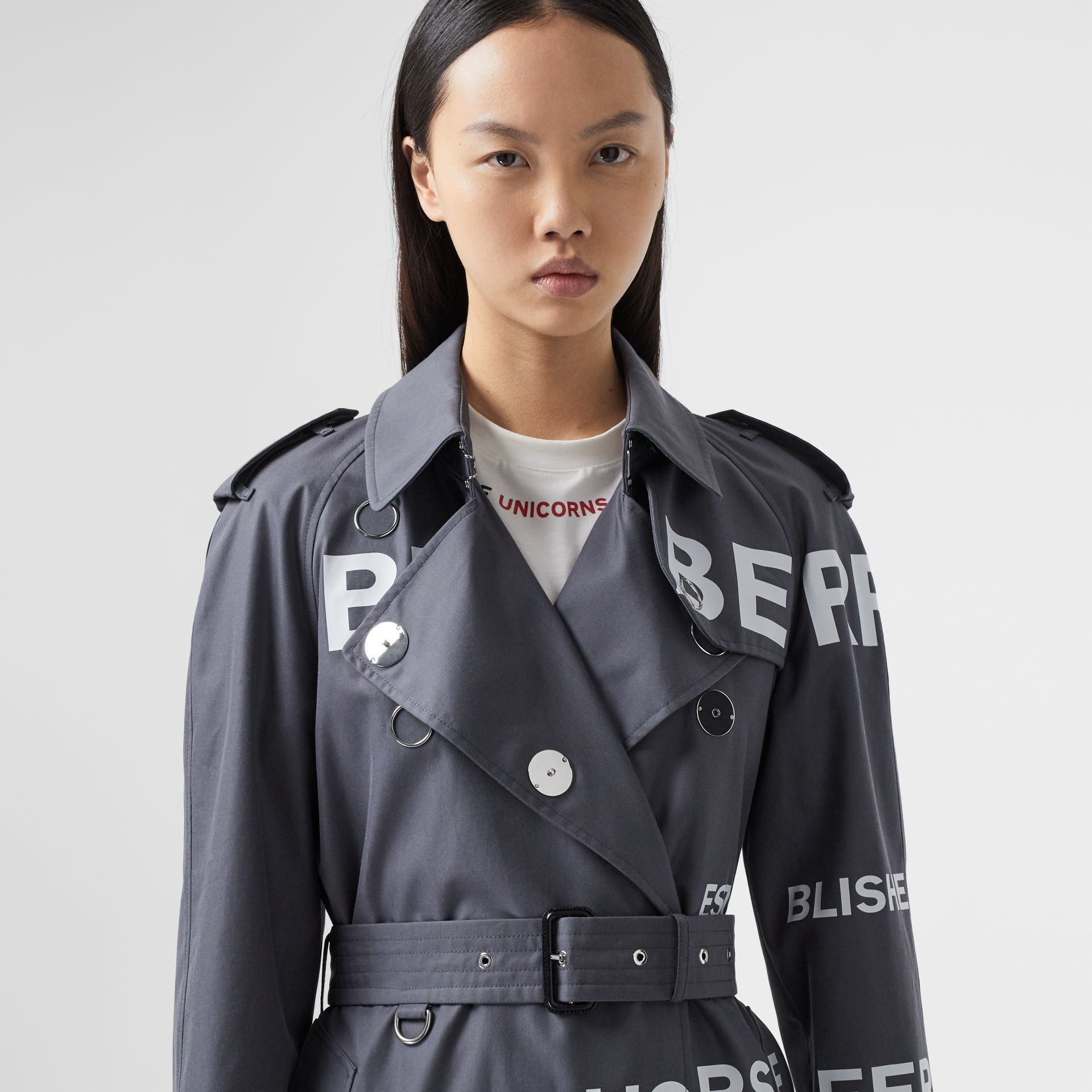 Horseferry Print Cotton Gabardine Trench Coat in Mid Grey - Women | Burberry Hong Kong S.A.R - gallery image 1
