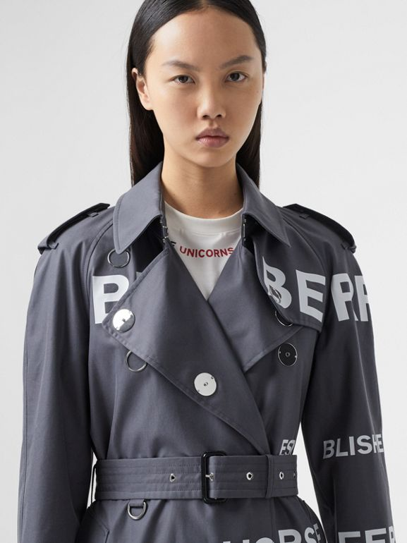 Horseferry Print Cotton Gabardine Trench Coat in Mid Grey - Women | Burberry Hong Kong S.A.R - cell image 1