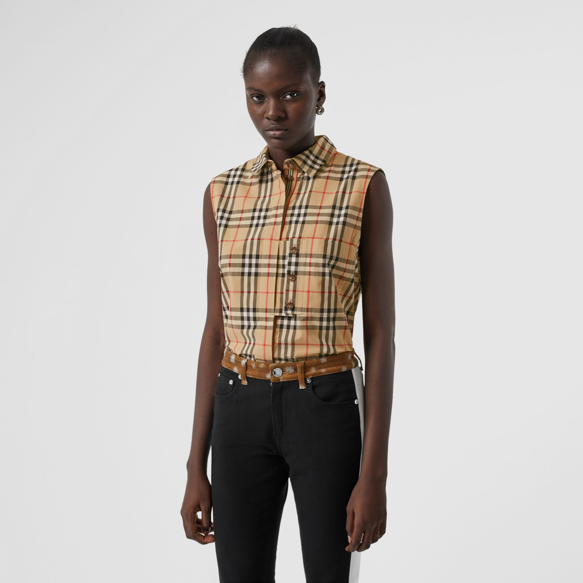 Sleeveless Vintage Check Cotton Poplin Shirt in Archive Beige - Women | Burberry - gallery image 4