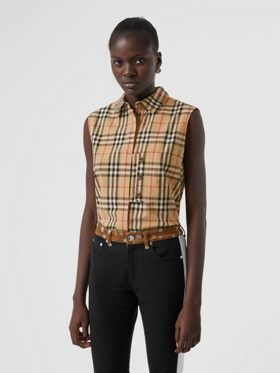 Sleeveless Vintage Check Cotton Poplin Shirt in Archive Beige