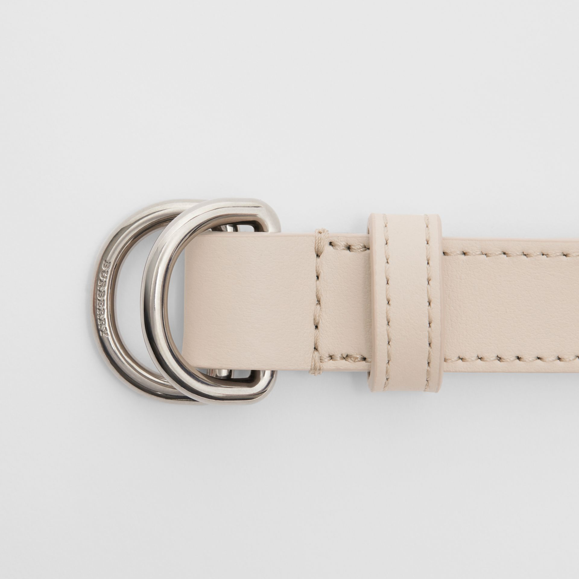 Slim Leather Double D-ring Belt in Limestone - Women | Burberry - gallery image 1