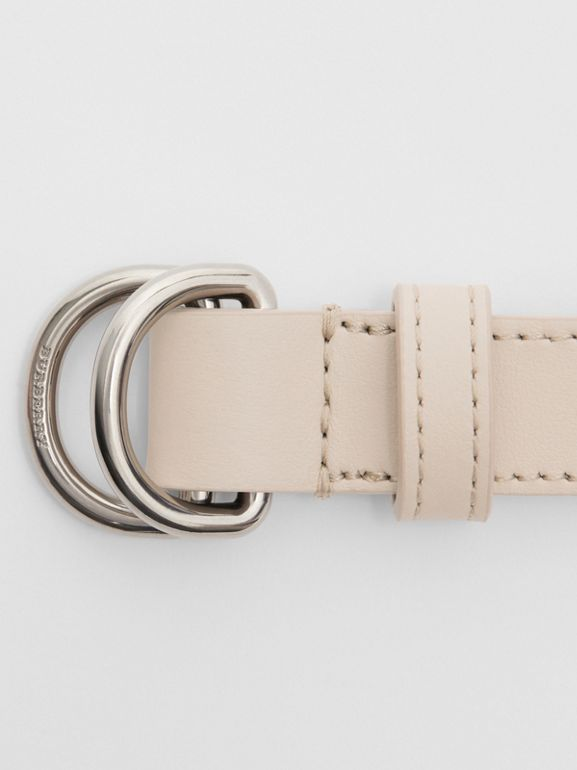 Slim Leather Double D-ring Belt in Limestone - Women | Burberry - cell image 1
