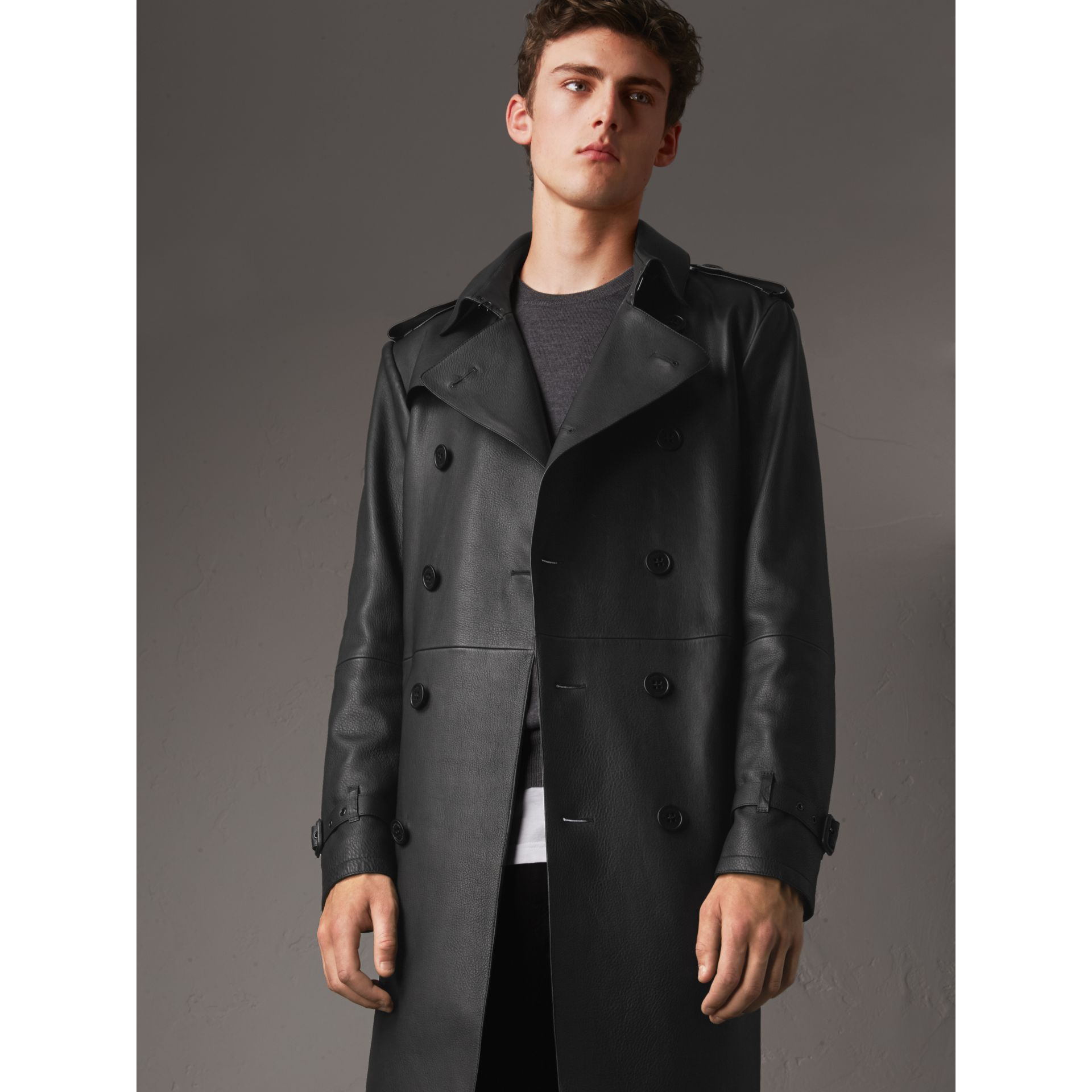 Lambskin Trench Coat in Black - Men | Burberry - gallery image 6
