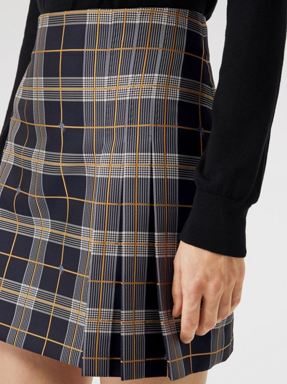 Pleat Detail Check Mini Skirt in Navy - Women | Burberry - cell image 1