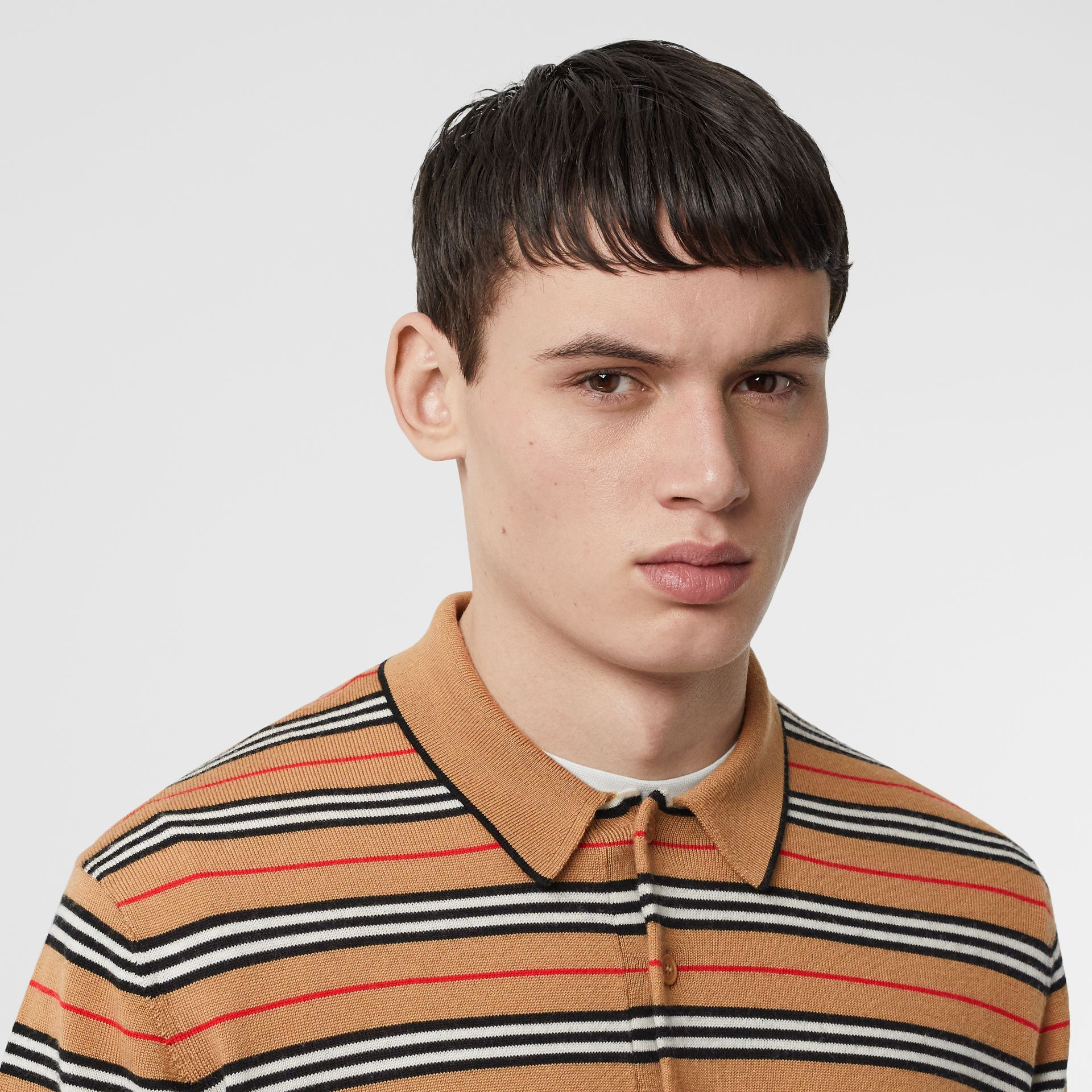 Icon Stripe Merino Wool Polo Shirt in Archive Beige - Men | Burberry - gallery image 5