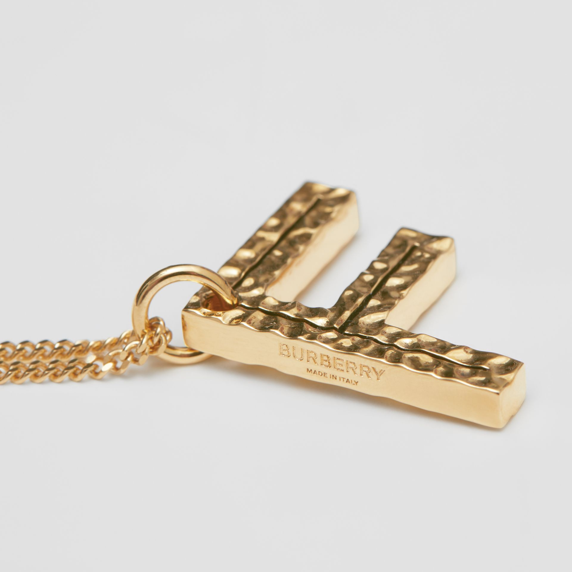 'F' Alphabet Charm Gold-plated Necklace in Light - Women | Burberry United Kingdom - gallery image 1