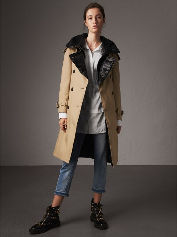 Reversible Down-filled Cotton Gabardine Trench Coat in Honey
