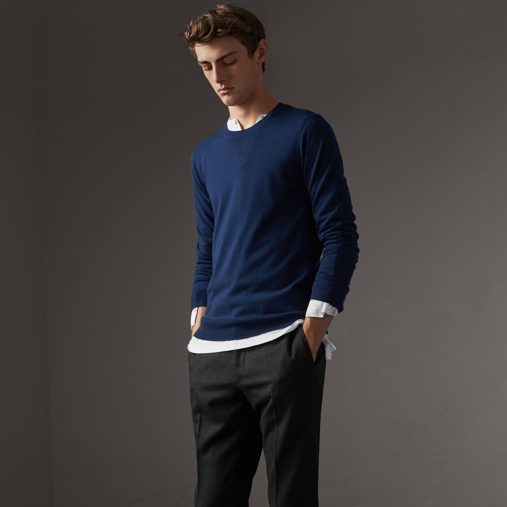 Check Jacquard Detail Cashmere Sweater in Navy - Men | Burberry - gallery image 1