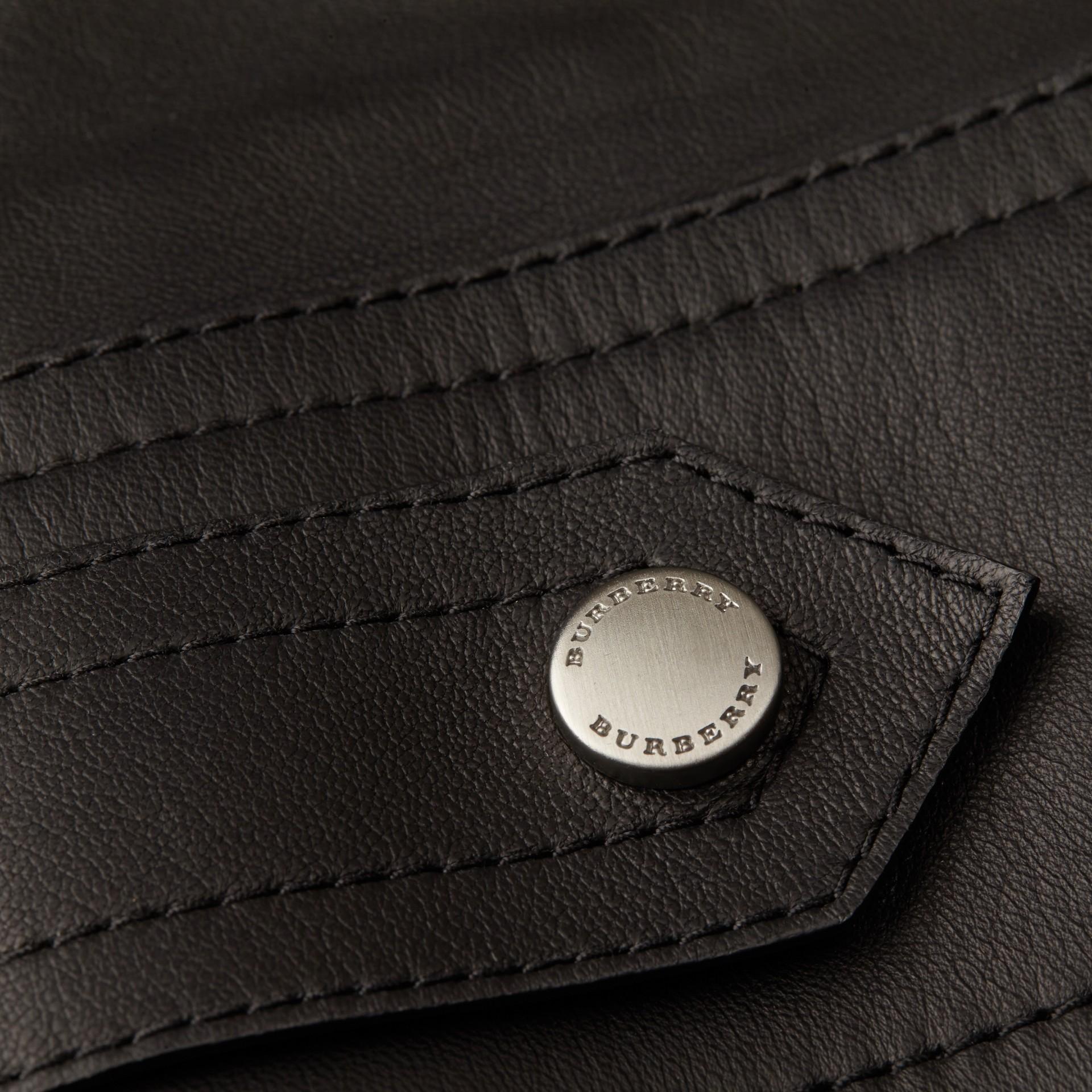Черный Байкерская куртка из кожи ягненка - изображение 2