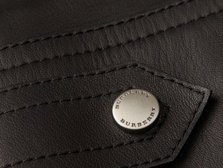 Черный Байкерская куртка из кожи ягненка - cell image 1
