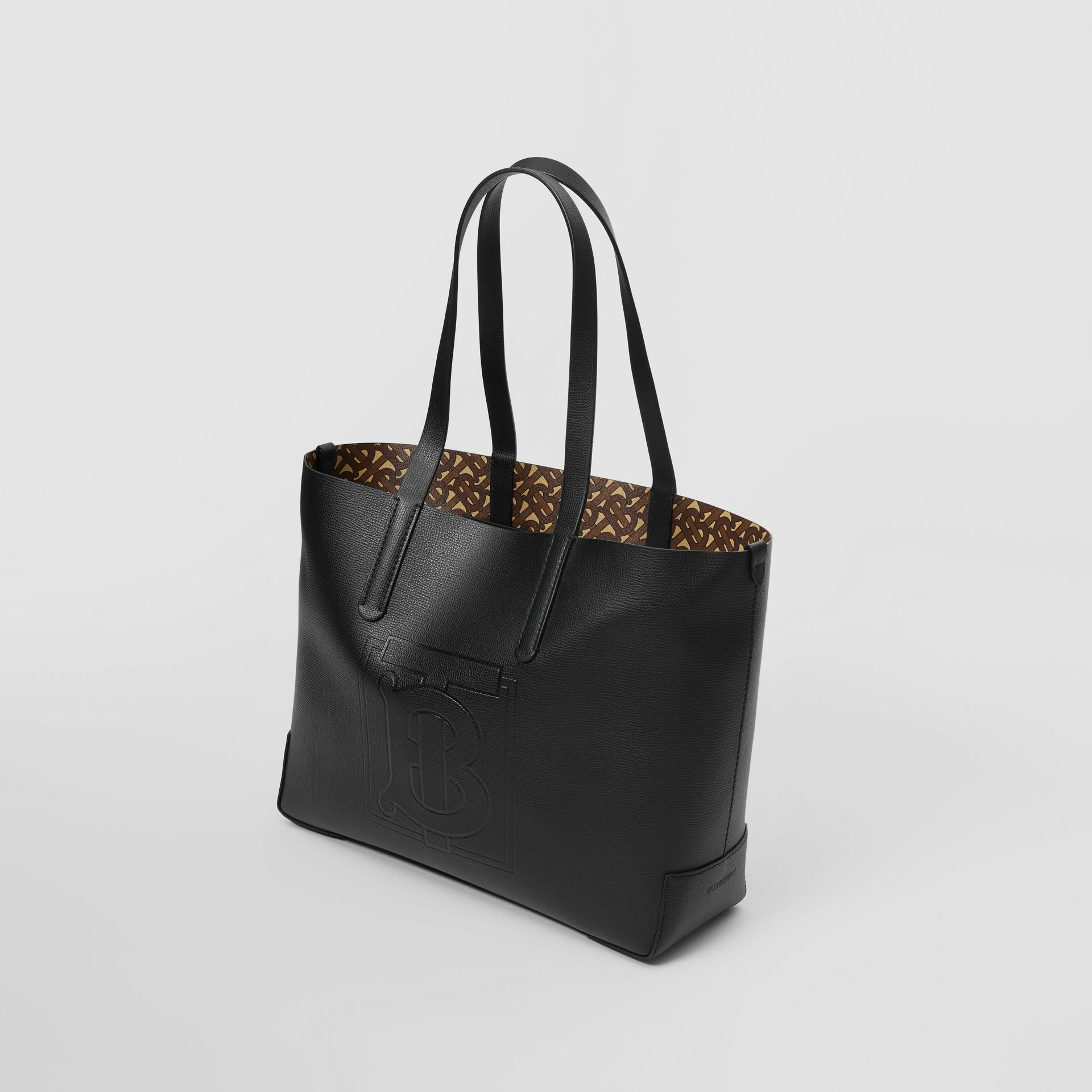 Embossed Monogram Motif Leather Tote in Black - Women | Burberry - gallery image 3