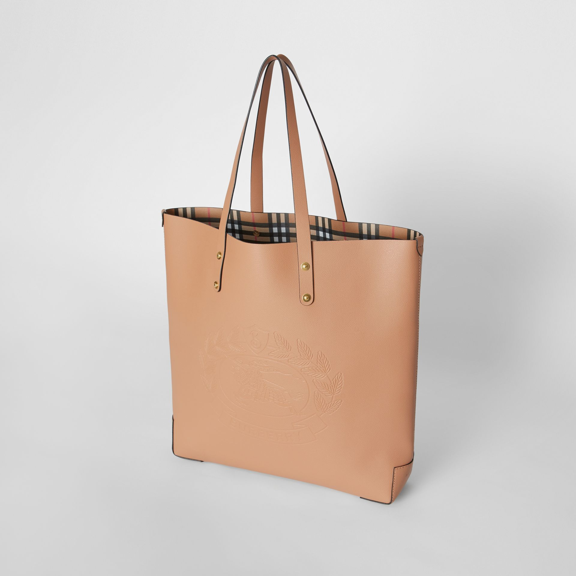 Large Embossed Crest Leather Tote in Light Camel - Women | Burberry - gallery image 3