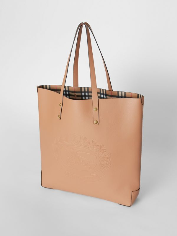 Large Embossed Crest Leather Tote in Light Camel - Women | Burberry - cell image 3