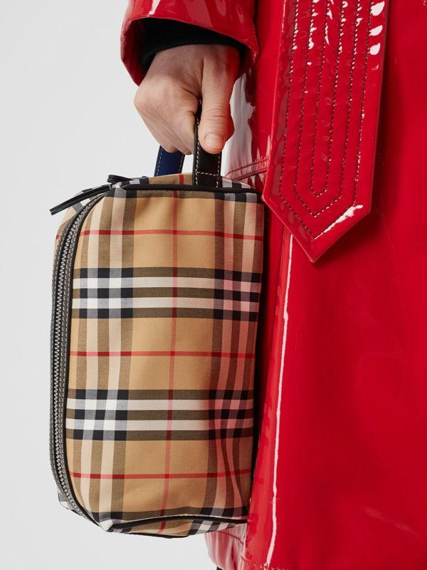 Vintage Check and Leather Pouch in Dark Cyan | Burberry - cell image 2