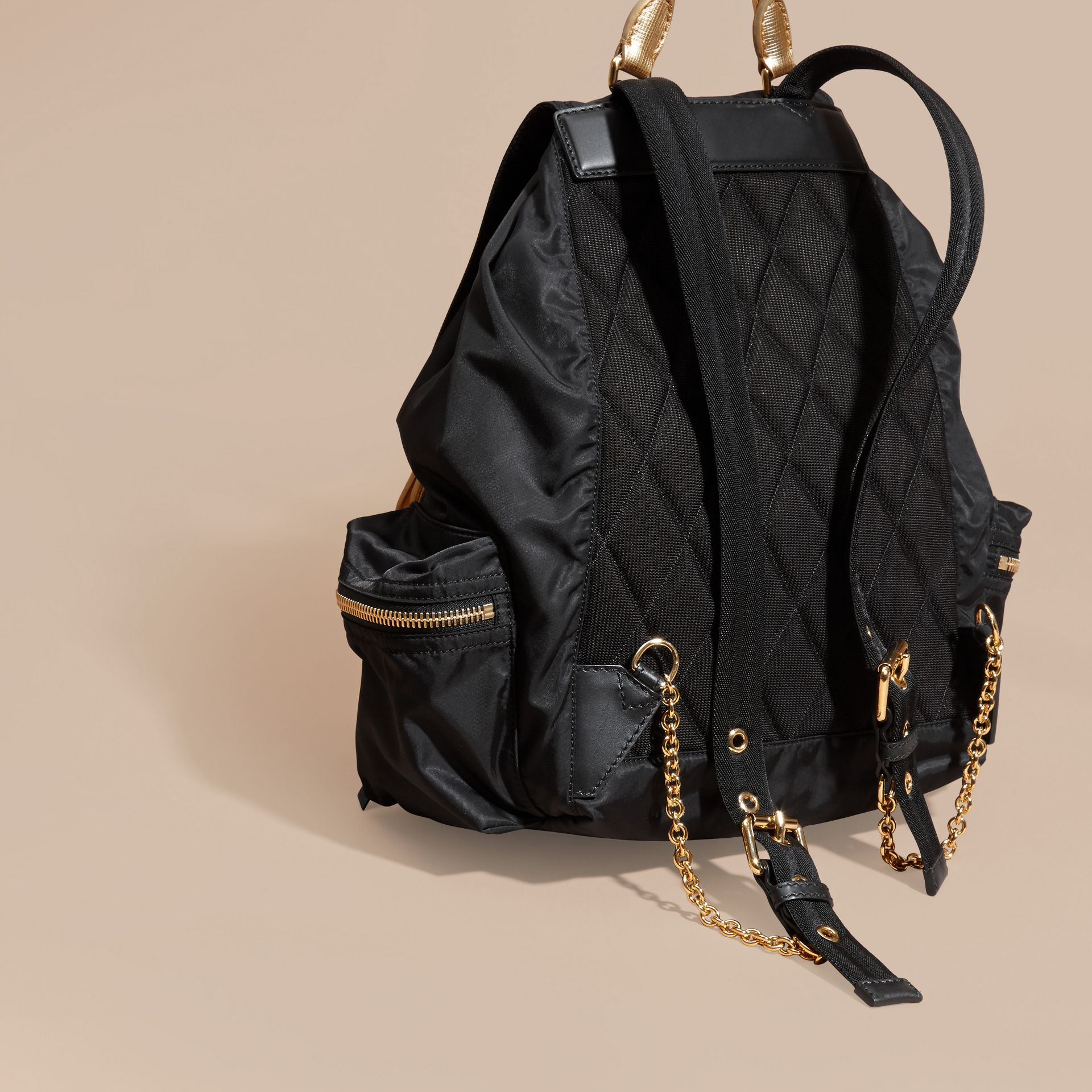 Black/gold The Large Rucksack in Two-tone Nylon and Leather - gallery image 4