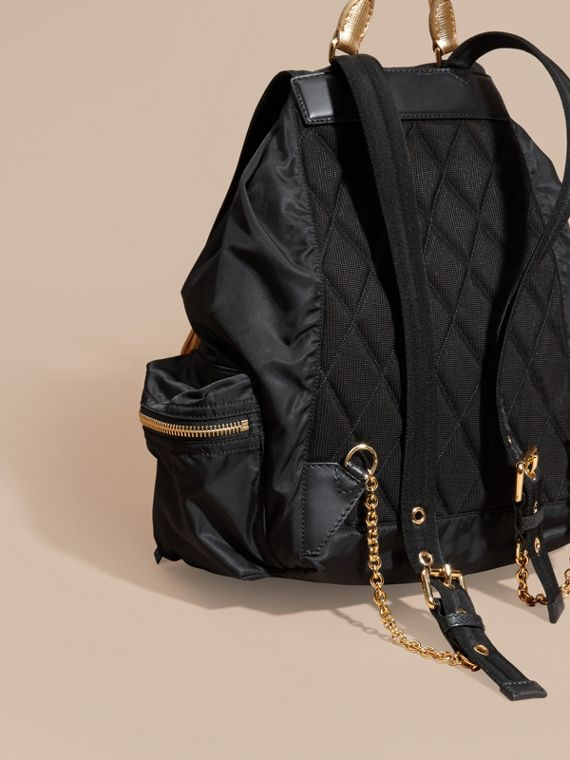 Black/gold The Large Rucksack in Two-tone Nylon and Leather - cell image 3