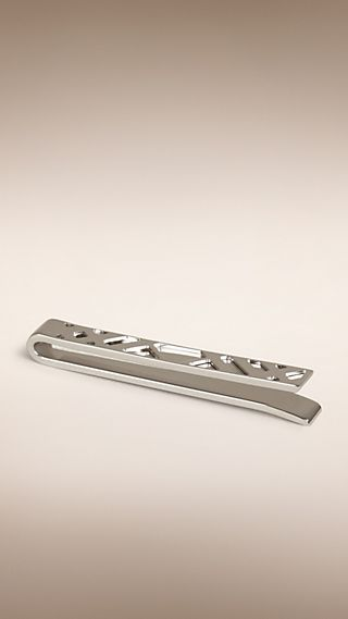 Check-engraved Sterling Silver Tie Bar
