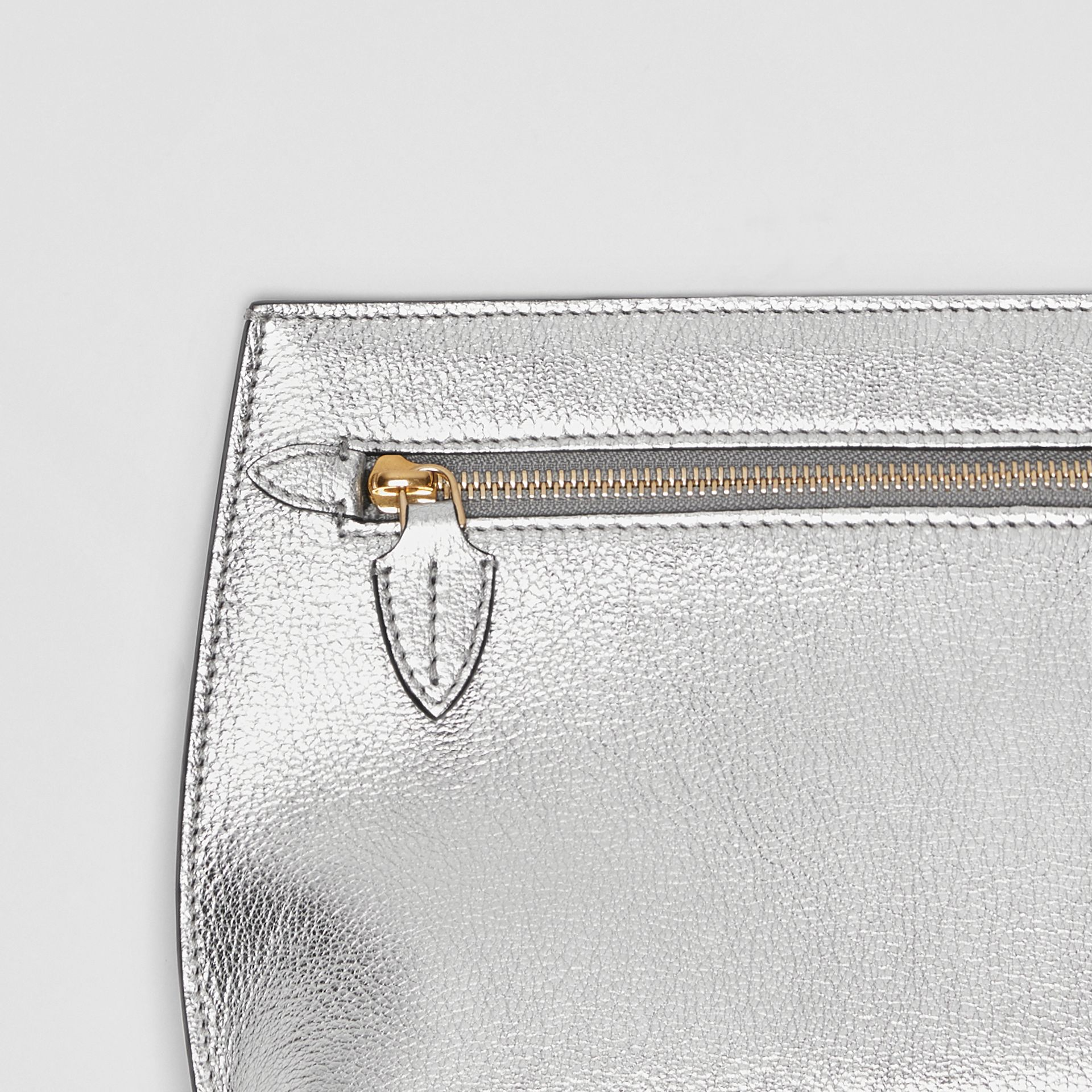Metallic Leather Wristlet Clutch in Silver - Women | Burberry - gallery image 1