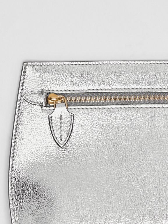 Metallic Leather Wristlet Clutch in Silver - Women | Burberry - cell image 1