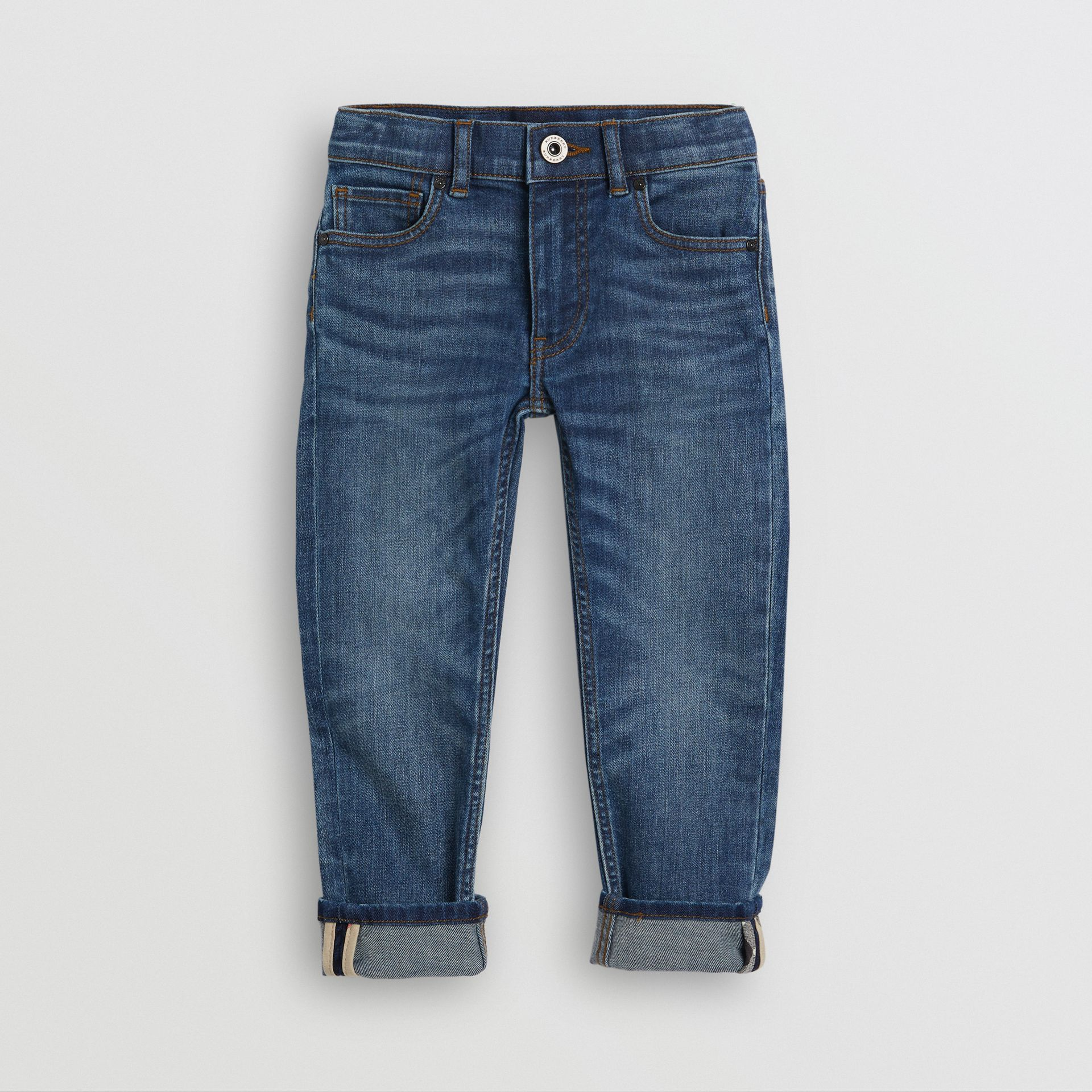 Skinny Fit Stretch Jeans in Mid Indigo - Children | Burberry - gallery image 0