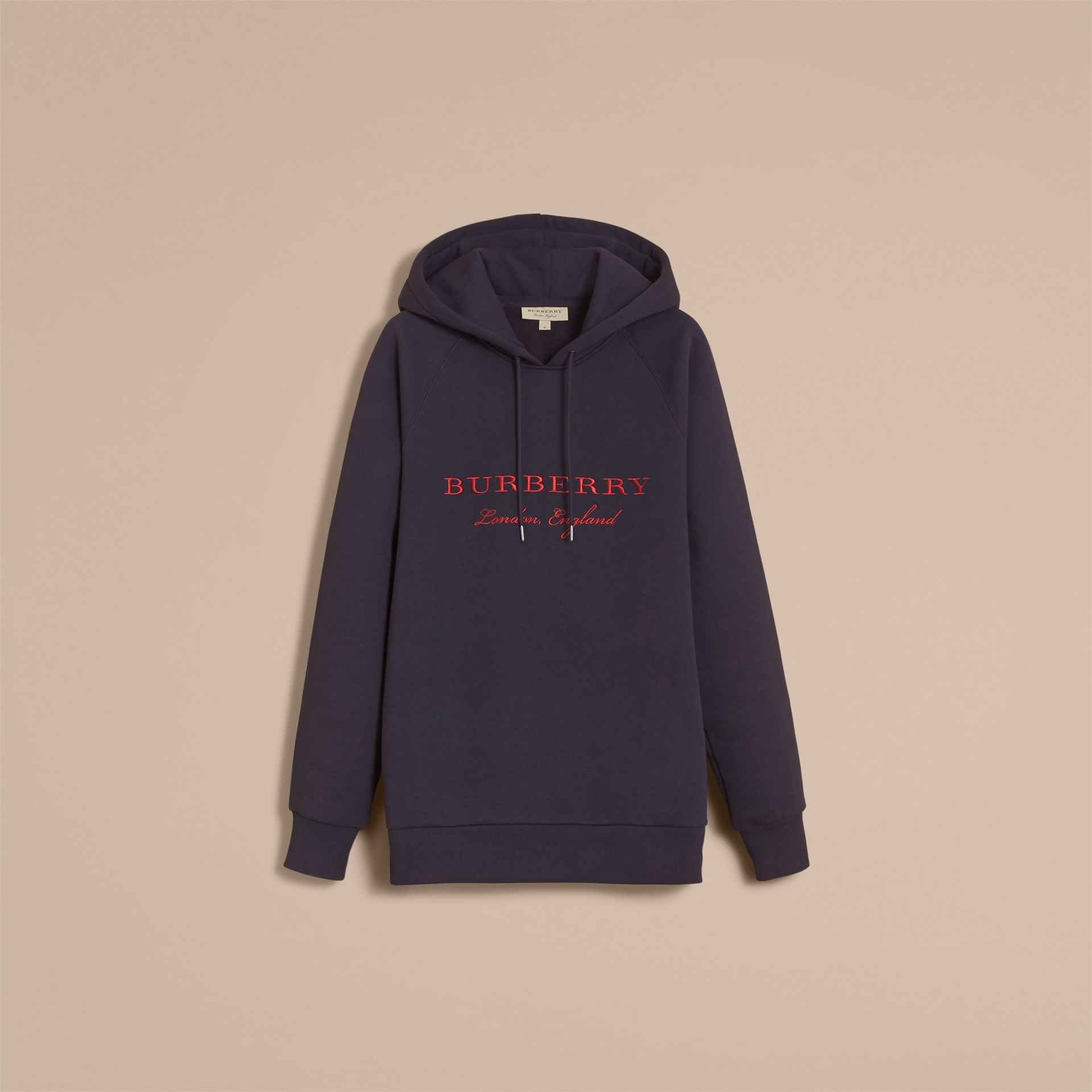 Embroidered Hooded Sweatshirt in Navy - gallery image 4