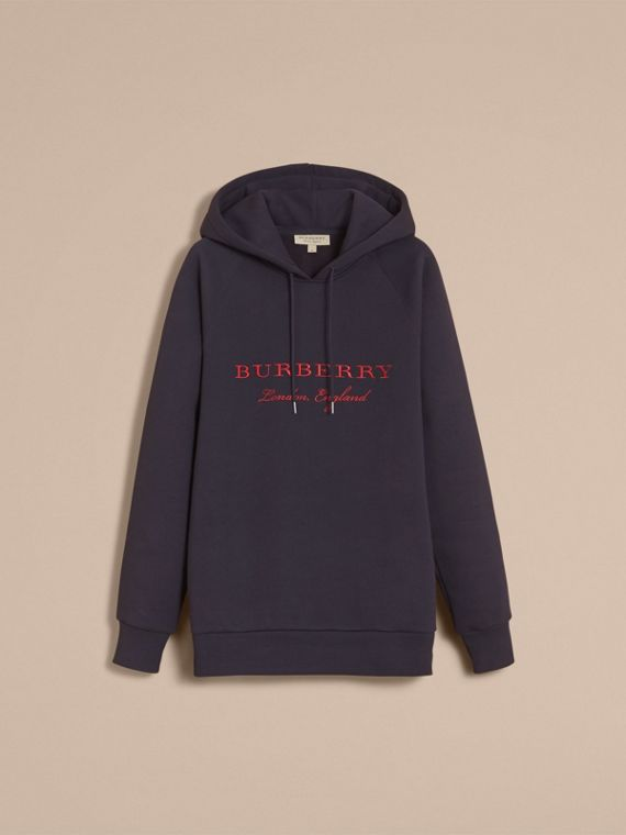 Embroidered Hooded Sweatshirt in Navy - cell image 3