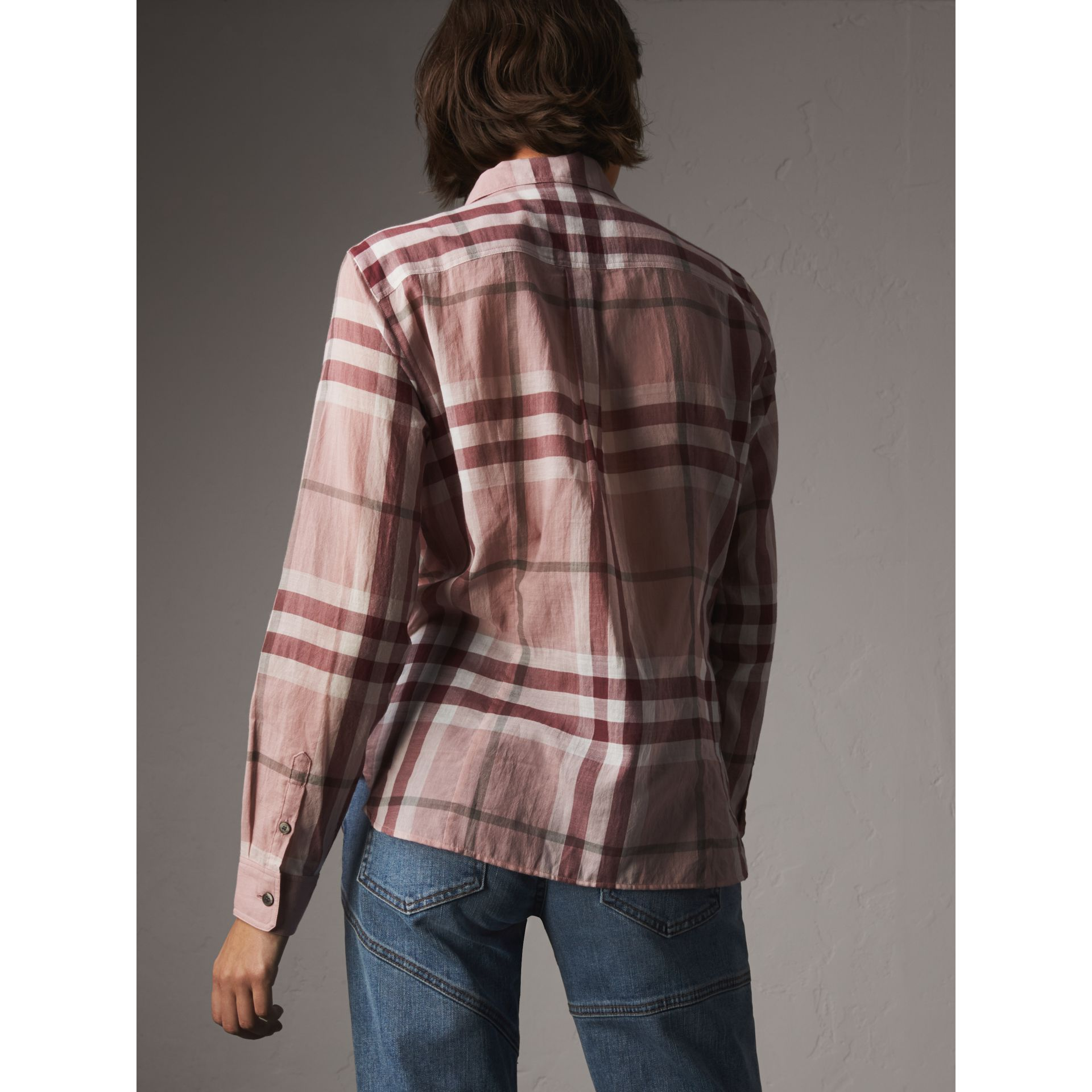 Check Cotton Shirt in Antique Pink - Women | Burberry - gallery image 3