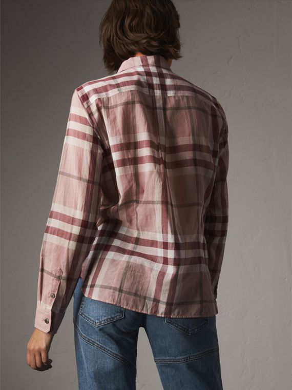 Check Cotton Shirt in Antique Pink - Women | Burberry United States - cell image 2