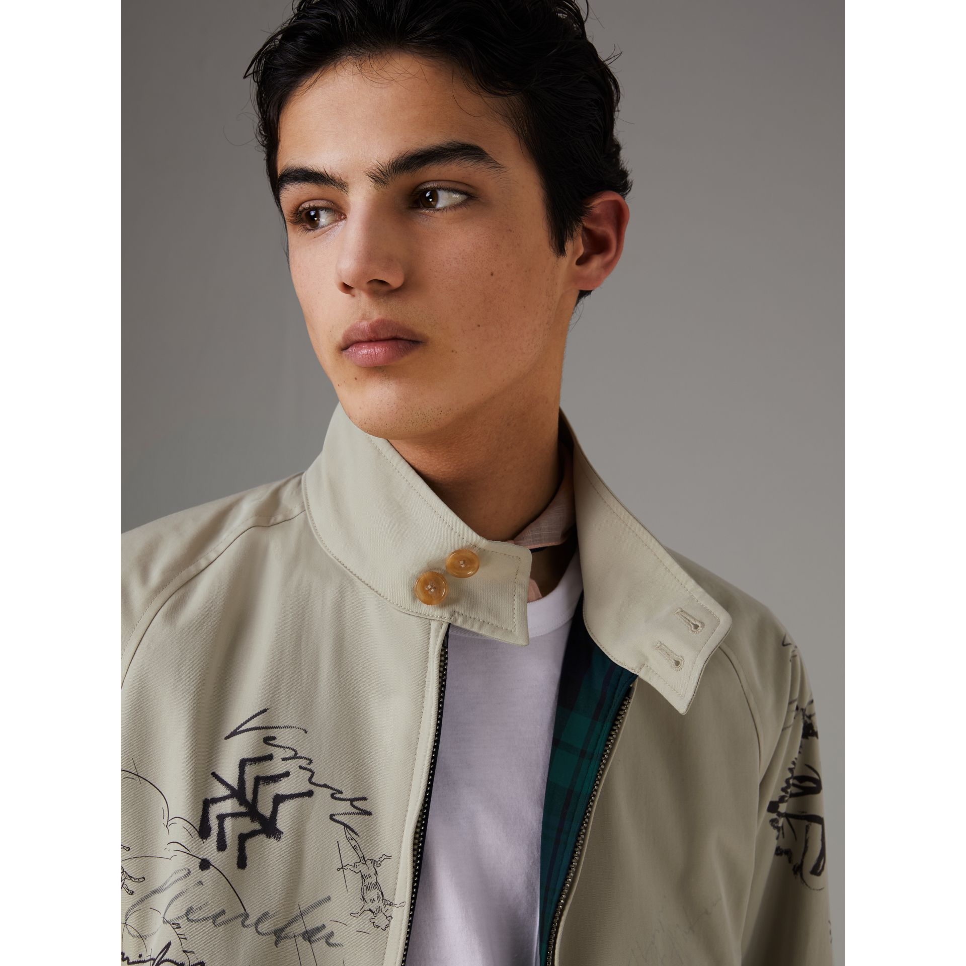 Sketch Print Harrington Jacket in Stone - Men | Burberry United States - gallery image 1