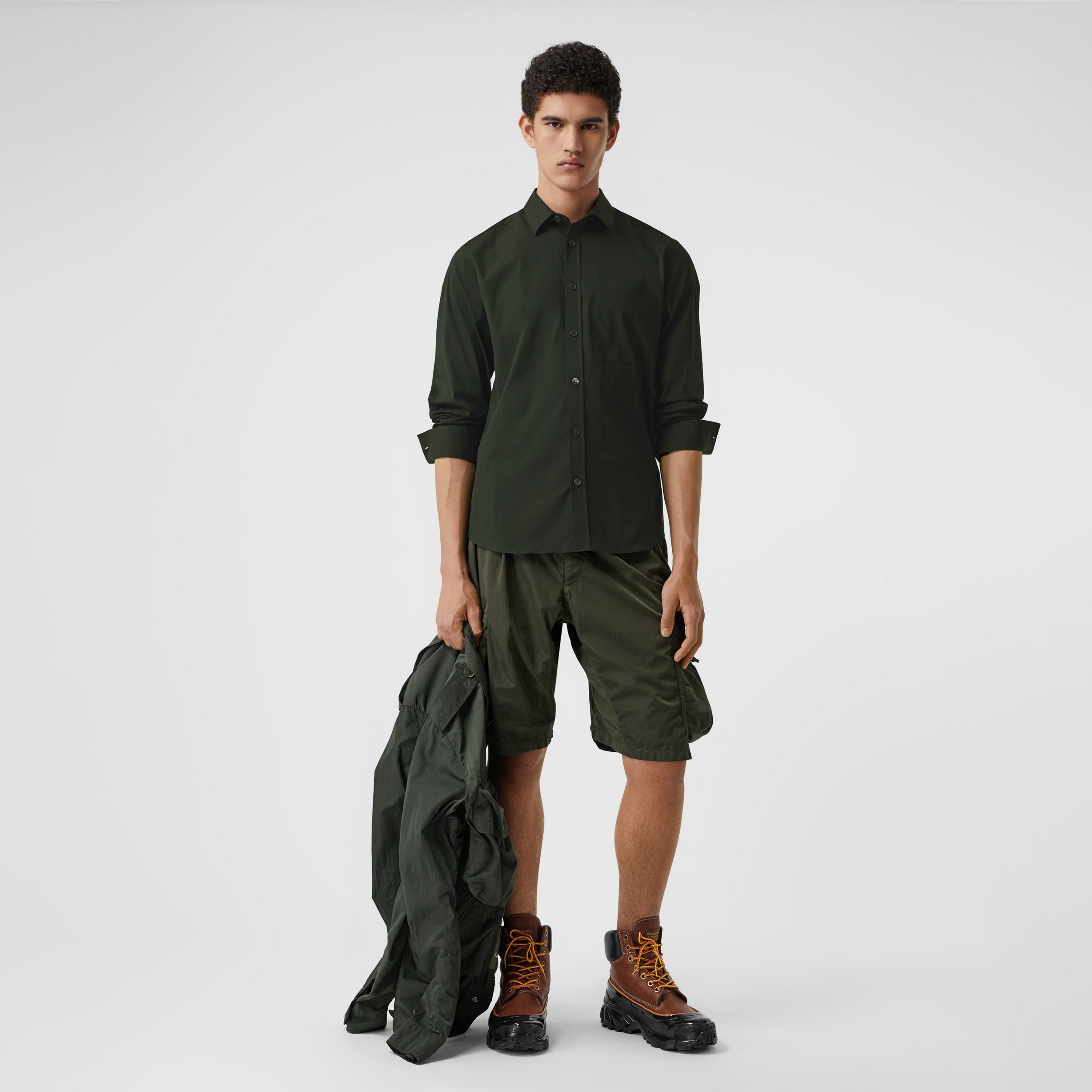 Embroidered Logo Cotton Blend Shirt in Forest Green - Men | Burberry Australia - 1
